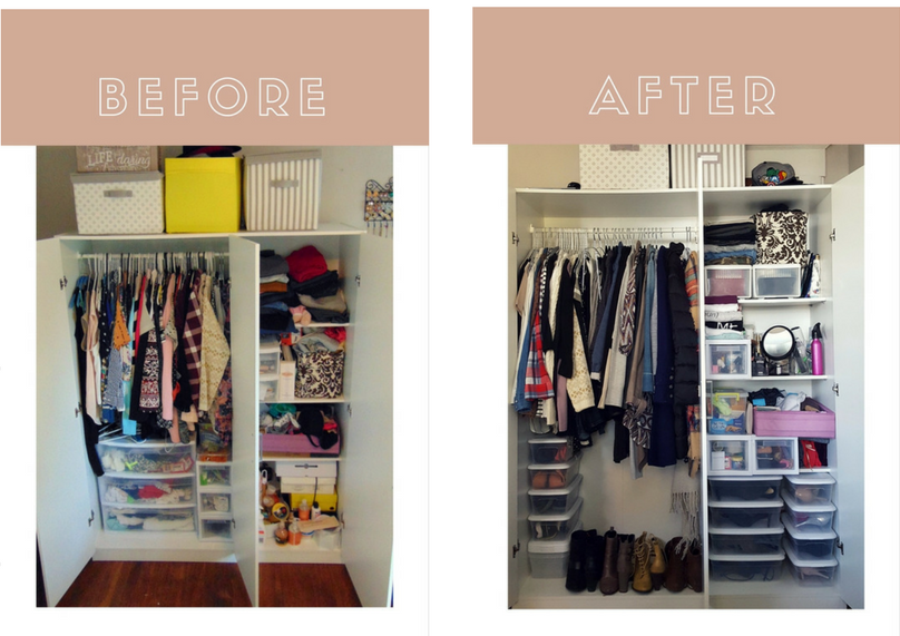 Before and after closet